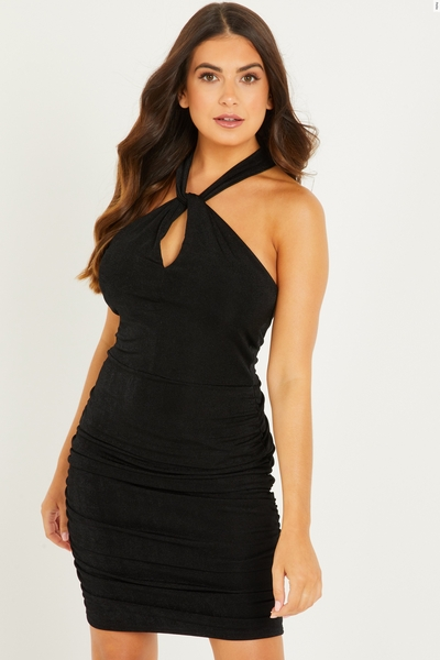 Petite Black Halter Neck Bodycon Dress